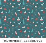 Marine Seamless Pattern With...