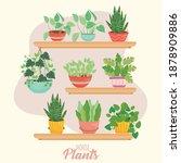 house plants inside pots on... | Shutterstock .eps vector #1878909886