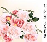 vector cute pink roses in...   Shutterstock .eps vector #187891379