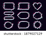 message bubbles set with glitch ...