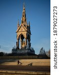 Small photo of London, Middlesex England - December 8th, 2020: The Albert Memorial was commissioned by Queen Victoria in the memory of her husband Albert and sits opposite the Albert Hall.