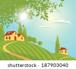spring landscape with village... | Shutterstock .eps vector #187903040