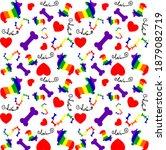 corgi puppies in rainbow colors ... | Shutterstock .eps vector #1879082719