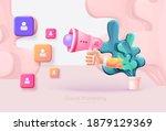 digital marketing. hand holds a ...   Shutterstock .eps vector #1879129369