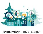 people rejoice and celebrate... | Shutterstock .eps vector #1879160389