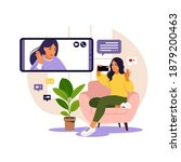 woman using phone for...   Shutterstock .eps vector #1879200463