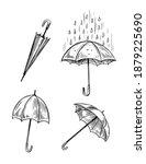 umbrella set. vector sketch... | Shutterstock .eps vector #1879225690