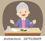 old senior woman happy eat food ... | Shutterstock .eps vector #1879228609