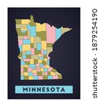 Minnesota Map. Us State Poster...
