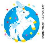 little white horse dancing in a ... | Shutterstock .eps vector #187928129