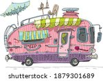 a drawing of camper van with...   Shutterstock .eps vector #1879301689
