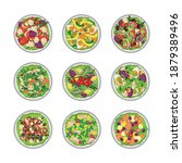 set of vegetable green salad... | Shutterstock .eps vector #1879389496