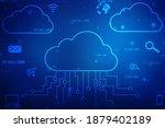 2d illustration of cloud... | Shutterstock . vector #1879402189