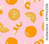 orange seamless pattern. exotic ... | Shutterstock .eps vector #1879412536