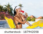 woman with beauty tanned body... | Shutterstock . vector #187942058