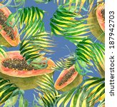 papaya. tropical seamless... | Shutterstock . vector #187942703