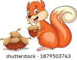 squirrel cartoon vector art and ... | Shutterstock .eps vector #1879503763