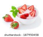 yogurt with strawberry  | Shutterstock . vector #187950458