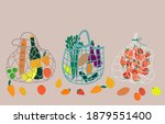 set of three  mesh bags with... | Shutterstock .eps vector #1879551400