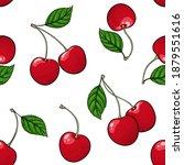seamless pattern red cherry...   Shutterstock . vector #1879551616