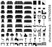 furniture icon set on white background. Vector.