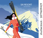 Ski Resort Poster In Vintage...