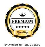 golden premium quality badge | Shutterstock .eps vector #187961699