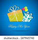 happy new year with gift   Shutterstock .eps vector #187965740