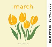 Branches of tulip flowers and green leaves. Bouquet of yellow tulips isolated on white. Floral march design. Greeting card template. Women