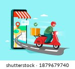delivery staff ride motorcycles ... | Shutterstock .eps vector #1879679740