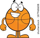 Cartoon illustration of a basketball character with a big grin.  - stock vector