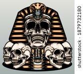 skull mummy illustration.... | Shutterstock .eps vector #1879732180