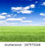 green field under blue clouds... | Shutterstock . vector #187975268