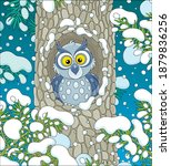 wise northern owl with large... | Shutterstock .eps vector #1879836256