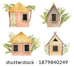 Set With Beach Houses Isolated...