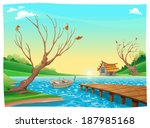 Lake With Boat. Cartoon And...