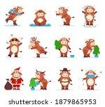 cute chinese oxen. 2021 zodiac... | Shutterstock .eps vector #1879865953