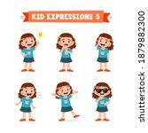 cute little kid girl in various ... | Shutterstock .eps vector #1879882300