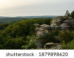 Small photo of View out over the Garden Of The Gods as sunset approaches. Shawnee National Forest, Illinois.