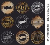 turkey metal stamps. gold made... | Shutterstock .eps vector #1879936783