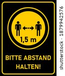 "bitte abstand halten  ""please... | Shutterstock .eps vector #1879942576"