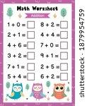 math worksheet for kids.... | Shutterstock .eps vector #1879954759