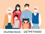 happy family wearing face mask... | Shutterstock .eps vector #1879974400