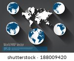 world map  | Shutterstock .eps vector #188009420