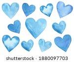 Watercolor Set Of Blue Hearts...