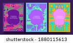 birthday cards and posters. set ... | Shutterstock .eps vector #1880115613
