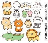 set of animals in cartoon.wild... | Shutterstock .eps vector #1880164789