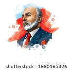 Mehmet Akif Ersoy (1873-1936) Turkish poet, author, academic and member of parliament. Vector watercolor illustration.