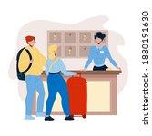 at hotel reception registering... | Shutterstock .eps vector #1880191630