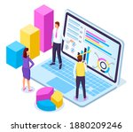 isometric laptop with charts ...   Shutterstock .eps vector #1880209246
